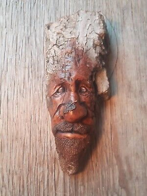 wood spirit wood carving cottonwood bark wooden face whimsy cottage decor