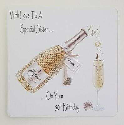Personalised 50th Birthday Card Little Sister Middle Big Wife