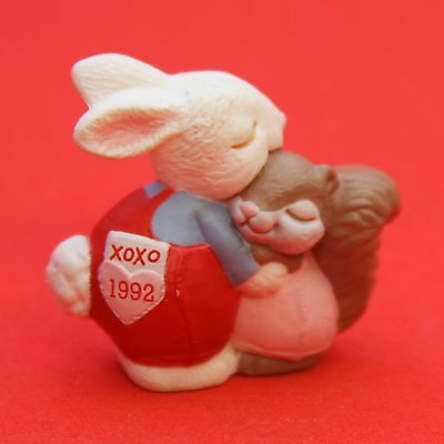 Hallmark Merry Miniatures VALENTINES DAY 1992 HUGS & KISSES Bunny & Squirrel