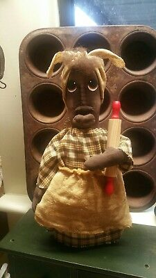 black mammy stump doll with rolling pin