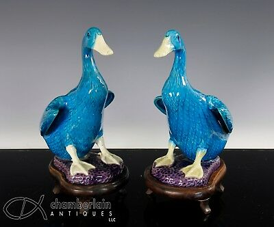 Pair Of Old Chinese Turquoise Glazed Porcelain Duck Statues