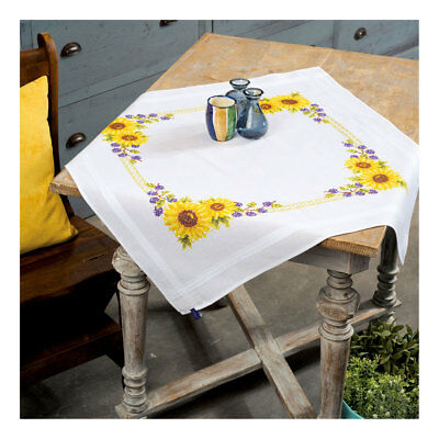Embroidery Kit Tablecloth Sunflowers Design Stitched on Cotton Fabric  80 x 80cm