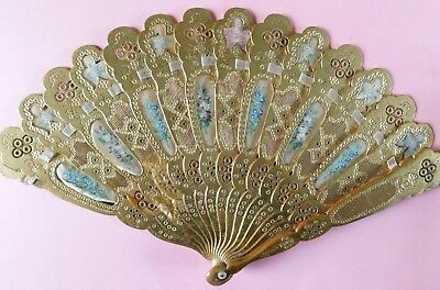 Antique Gilded Pierced And Carved Wood Hand Fan With Painted Insert Panels