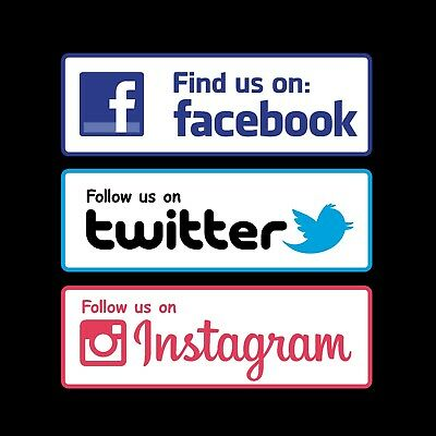 Facebook Twitter Instagram Logo Sticker Shop Window Van Car Sticker Decal Signs