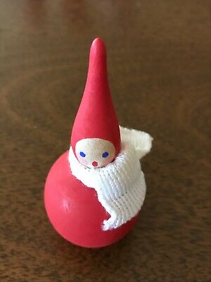 VINTAGE ~ WOODEN CHRISTMAS FIGURE with SCARF ~ HAND PAINTED ~ MADE IN SWEDEN