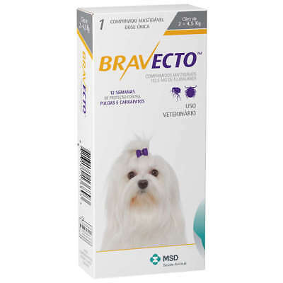 Bravecto for extra small dogs 2 kg- 4.5 kg single chew - 3 Months protection