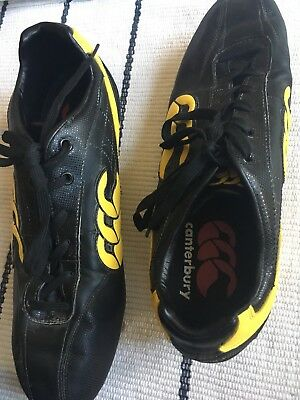 Men's black and yellow Canterbury Phoenix Elite rugby boots size 11