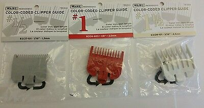 "Wahl Attachment Combs 3 Pack # 1/2 (1/16"") AND # 1 (1/8"") #1 1/2 (3/16) Guides"