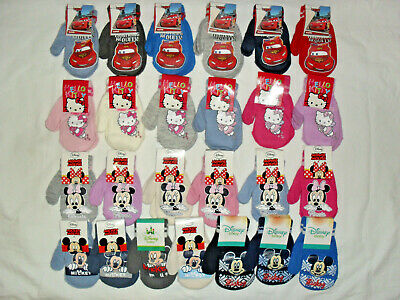 hello kitty,disney cars,mickey/minnie mouse baby winter mittens approx.12-24mths