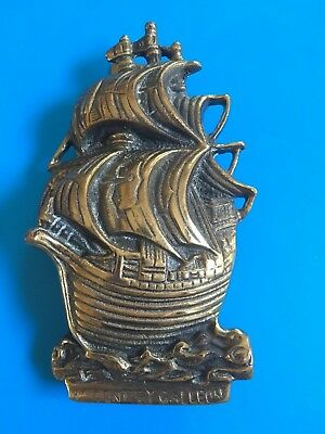 Door Knocker Nautical Vintage 16th Cent Galleon Ship Striker Brass Chic English
