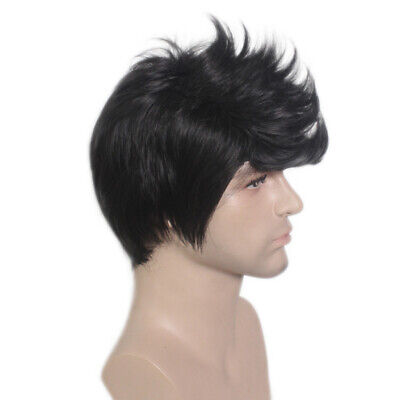 Handsome Quiff Wigs for Men's Male Black Short Wavy Hair Wig Cosplay Prop