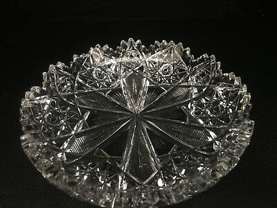 ABP Antique Deeply Cut Glass Dish Stars American Brilliant