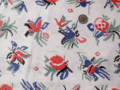 "Vintage Original FEED SACK 36"" x 44"" Red/Blue/Green Cross Stitch style Flowers"