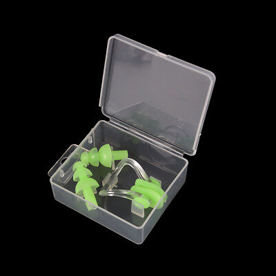 Green Waterproof Soft Silicone Swimming Set Nose Clip + Ear Plug Kits Boxed P&T