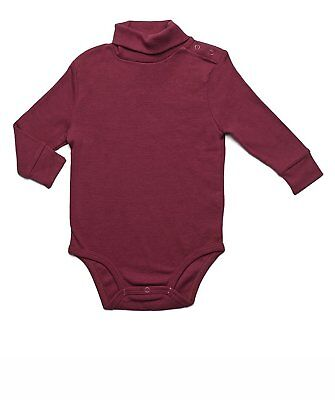 b15a62815 LEVERET BABY'S TODDLERS Red Solid Turtleneck Bodysuit 100% Cotton ...