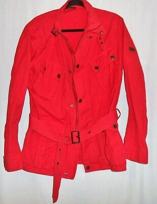 Men's Barbour International Sz Large Red Utility Moto Streetwear Cargo Jacket