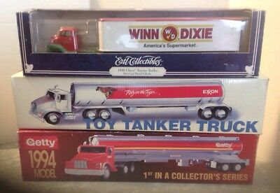 Lot Of Toy Getty And Exxon Tanker Trucks And 1 Winn Dixie Toy Tracker Trailer
