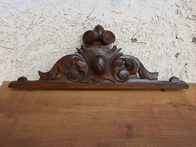 Antique FRENCH wood carved PEDIMENT finial plaque panel walnut door top 20""