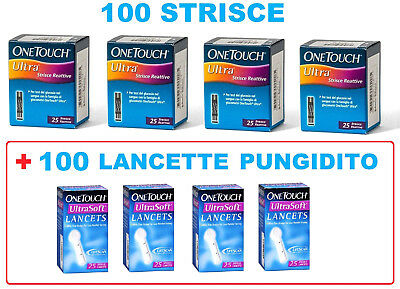 100  Strisce Reattive  One Touch Ultra + 100 Lancette Pungidito One Touch