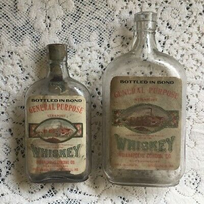 Two Vintage Pre-pro Whiskey Bottles Indianapolis Cordial Co
