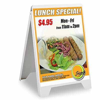 "Double Side Sidewalk A-frame Sign Sandwich Board PVC White Holds 22""x31""graph..."