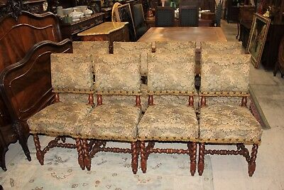 Beautiful Set Of 8 French Antique Carved Louis XIII Chairs / Barley Twist.