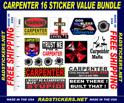 Union carpenter stickers, funny stickers, hard hat stickers, pack CC BNDL1