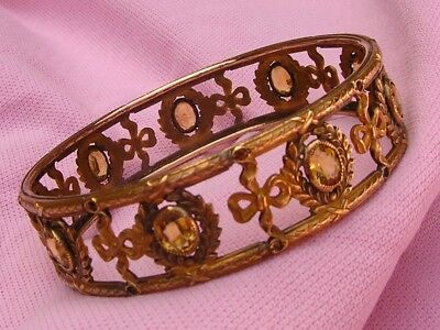 Vintage Antique Victorian Bezel Set Crystal Wide Fancy Gold Gilt Bangle Bracelet