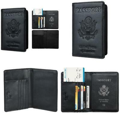 Leather Passport Holder Wallet Cover Case RFID Blocking Travel Wallet USA Black