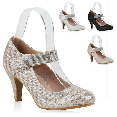 Damen Pumps Mary Janes Glitzer Strass High Heels Party Schuhe 820768 Trendy Neu