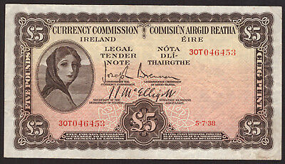 Currency Commission Ireland £5 Pound Note 1938 Very Fine