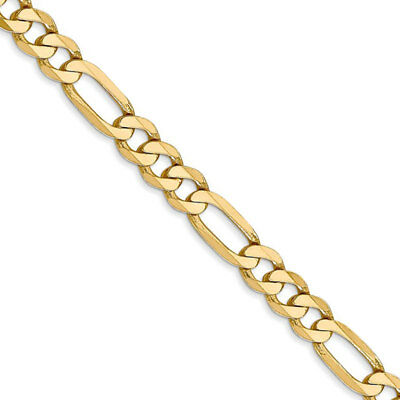 5.25mm, 14k Yellow Gold, Flat Figaro Chain Necklace, 18 Inch