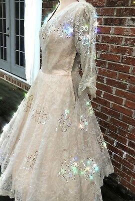 Stunning Vintage 1950's Chantilly Lace, tulle and Sequin Ecru/Blush Gown