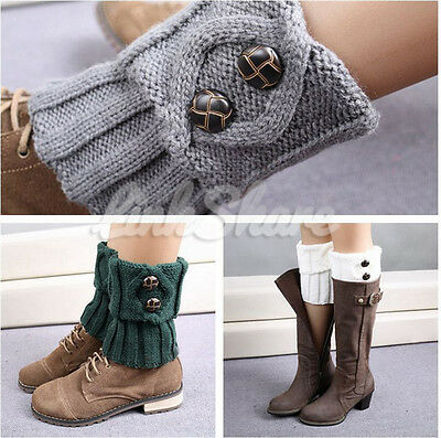 US Hot Women Crochet Cuffs Knitted Toppers Button Boot Socks Leg Warmers e0