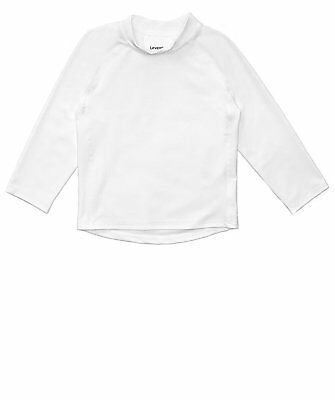 Leveret White Long Sleeve Rash Guard Sun Protected UPF + 50 (12M-5 Toddler)