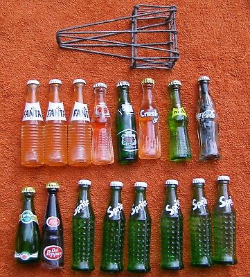 Mixed Lot of 16 Miniature Mini Soda Bottles – Very Nice
