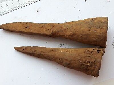Lot Of 2 Medieval Iron Spear Head