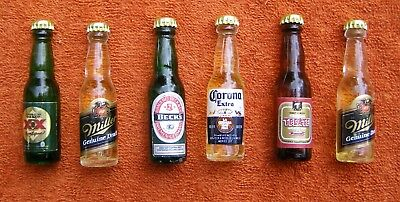 Mixed Lot of 6 Miniature Mini Beer Bottles – Very Nice