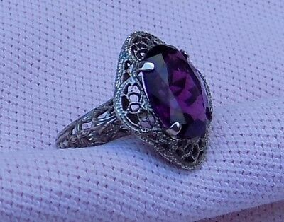 NR Vintage Antique Art Deco Purple Amethyst Glass Sterling Silver Filigree Ring