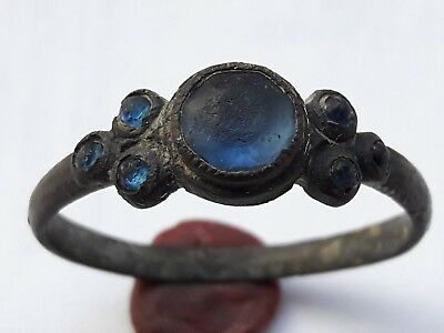 Amazing Medieval Bronze Ring With Blue Glass