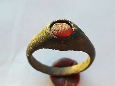 Late Medieval Ring With Red Gem