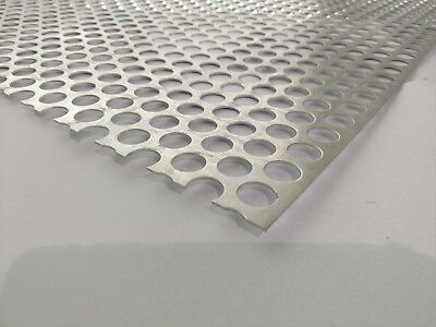 "Perforated Metal Aluminum Sheet .062 16 Gauge 12"" x 12""  3/4"" hole 1"" Stagger"