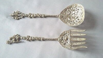 Vintage Italian Silver Plated Brass Ornate Figural Fork & Spoon Set