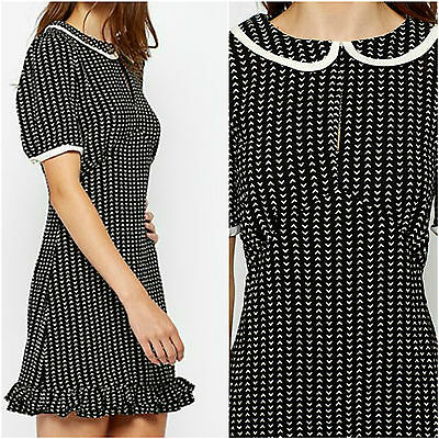 Womens Black White Collar Vintage Style Short Puff Sleeve Frill Midi Retro Dress