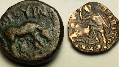 ANCIENT GREEK Auth. coin. LARISSA  360 BC. HORSE GRAZING & SPEARING 307- 361 AD
