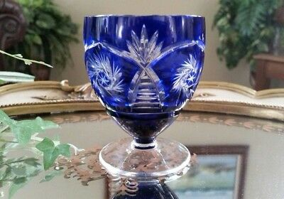 Vintage Cobalt Blue Pinwheel Cut to Clear Crystal Liqueur Cordial Shot Glass