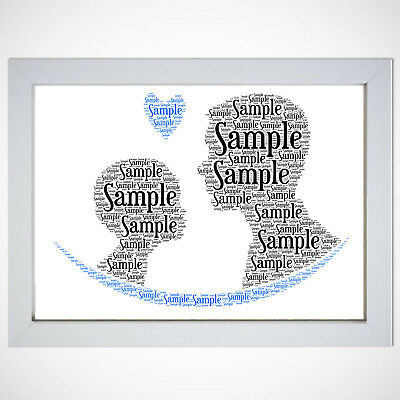 Personalised Daddy Dad And Son Word Art A4 Gift Present Birthday Xmas