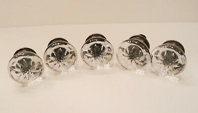 5 Vintage Glass  Knobs Drawer Pulls  With Brass Bases