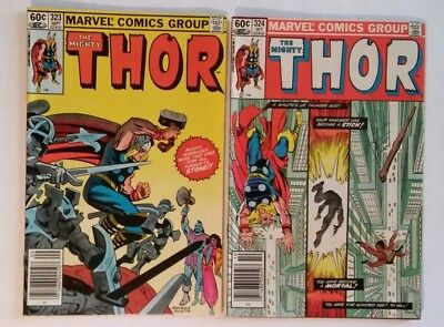 The Mighty Thor #323 324 Comic Book Lot Ragnarok (Marvel Comics1982)