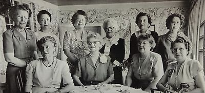 "Vintage 1940's Photograph - Unidentified Group Of Ten Women Posing - 4"" X 5"""